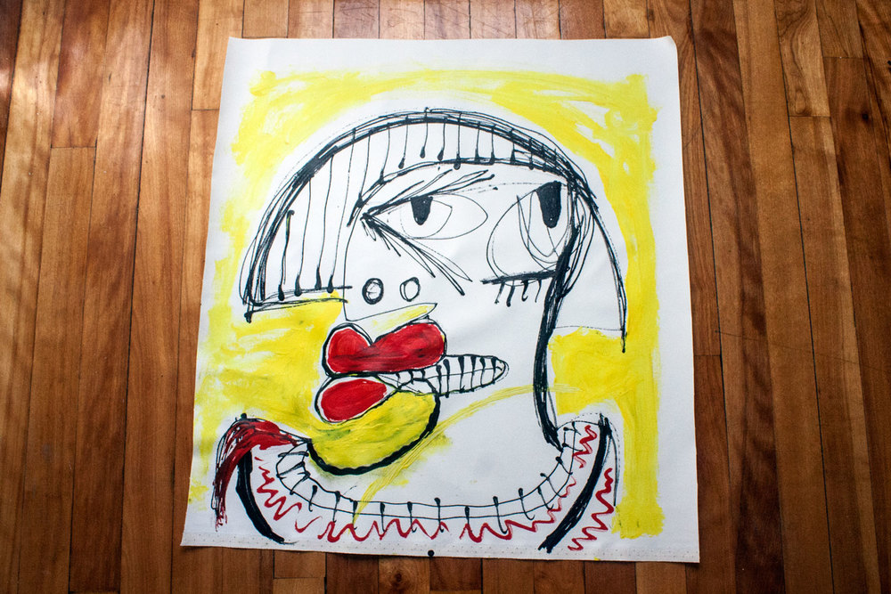 A quirky portrait in acrylic paint on canvas.