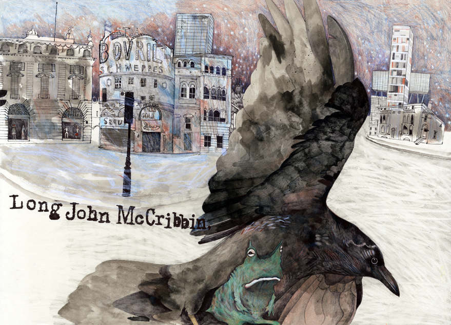 Book illustration with raven and frog in a cityscape, and handwritten text.