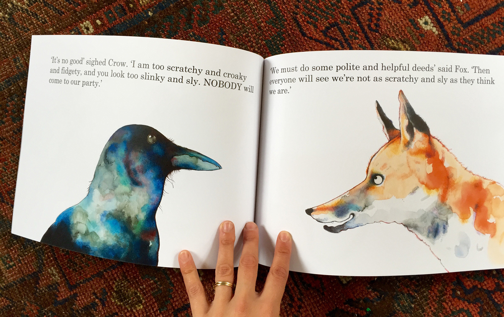 Double page spread from my children's book, Fox's Party