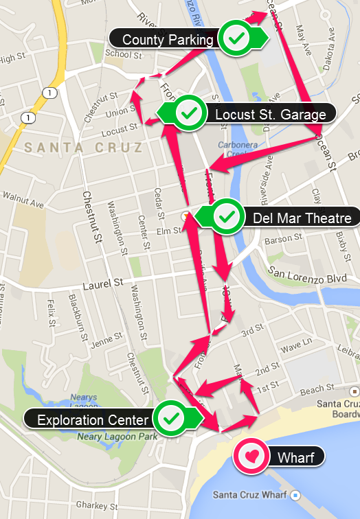 Trolley Route for the Free Wharf Centennial Service