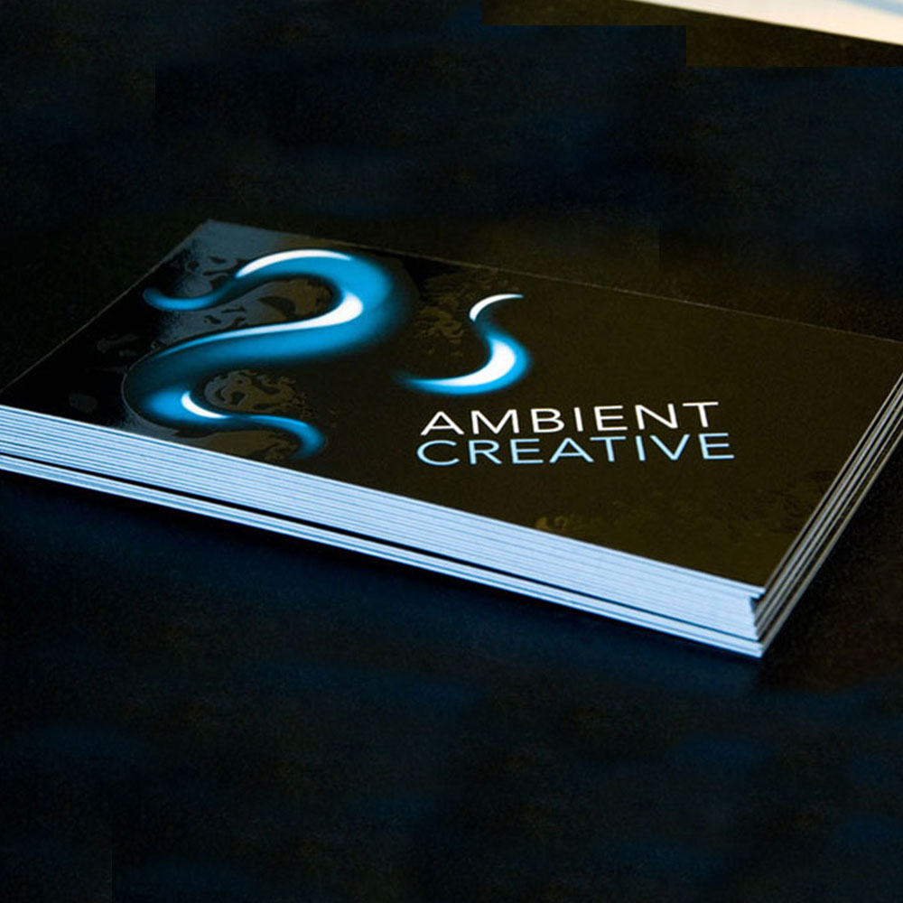 Ambient Creative - Business card design with custom spot gloss UV.