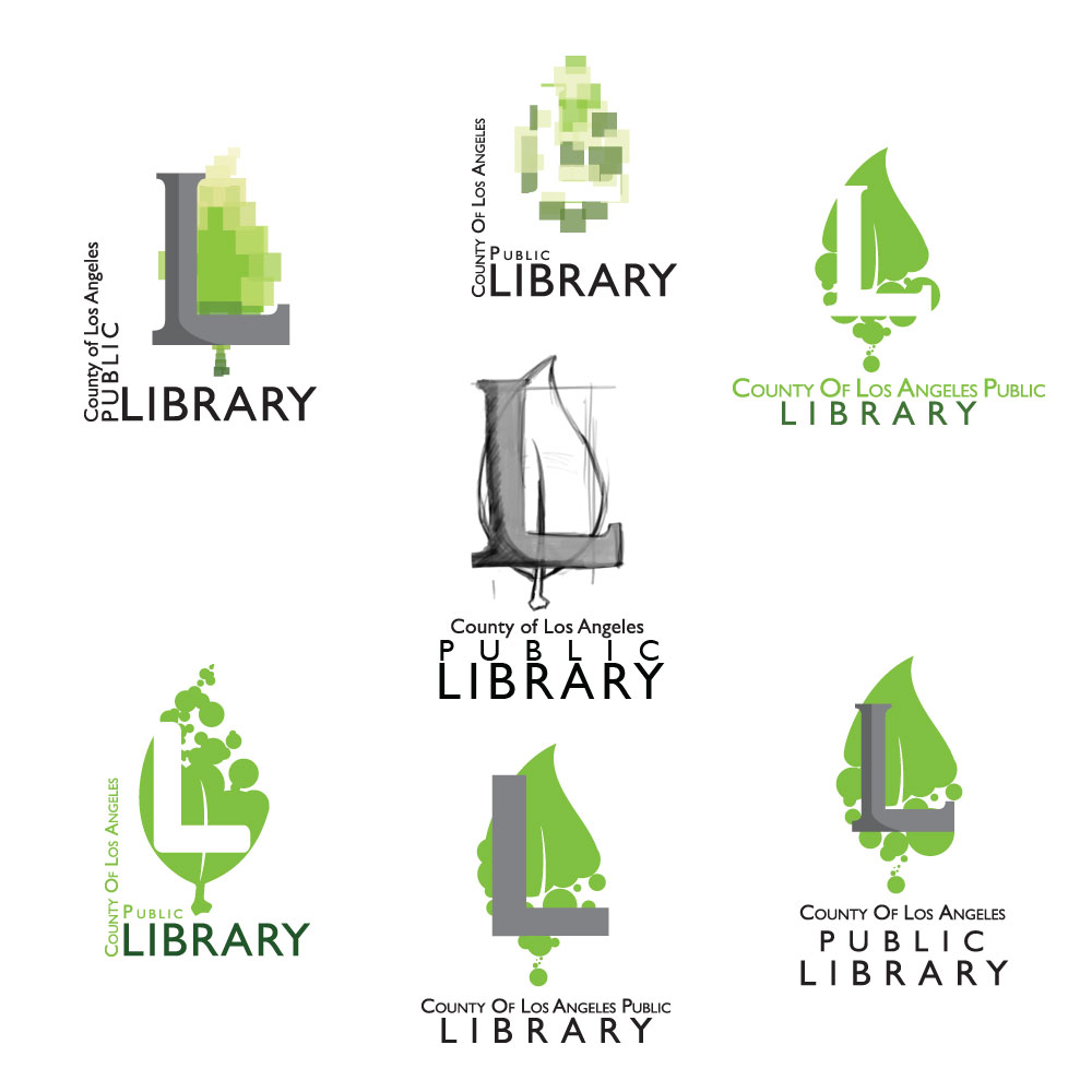 Logo Concepts - County of Los Angeles Library concept logos. Was designed for a pitch packet.