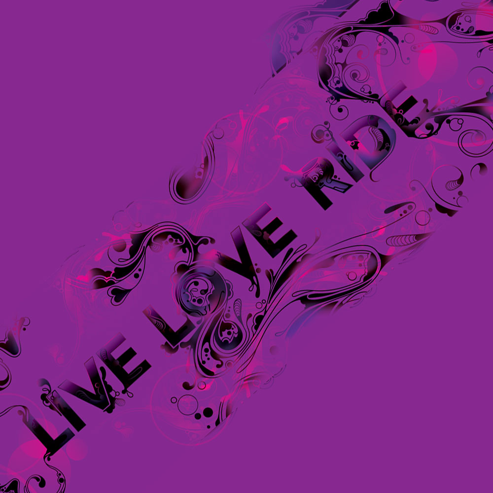LIVE LOve Ride Snowboard Design - Lettering and Illustration of a custom graphic for a snowboard design.