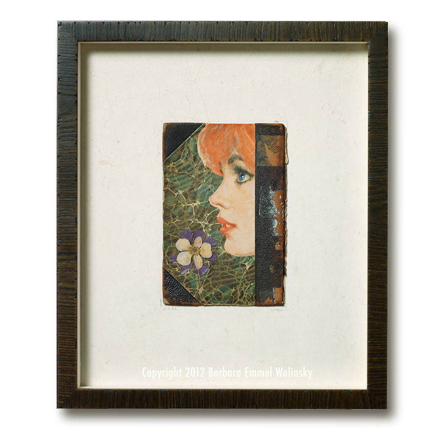 "2 X 2 # 2 18"" x 24"" framed marbled book cover, pressed flowers and a Ladies Home Journal illustration"