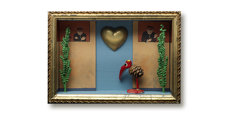 "THIS WAY MY LOVE 8"" x 5.5"" x 2"" pinecone bird, brass heart and fern seed pods"