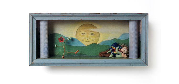 "SUN DREAMS 11.25"" x 5"" x 2"" as the sun rises, a boy dreams of a dancing flower"