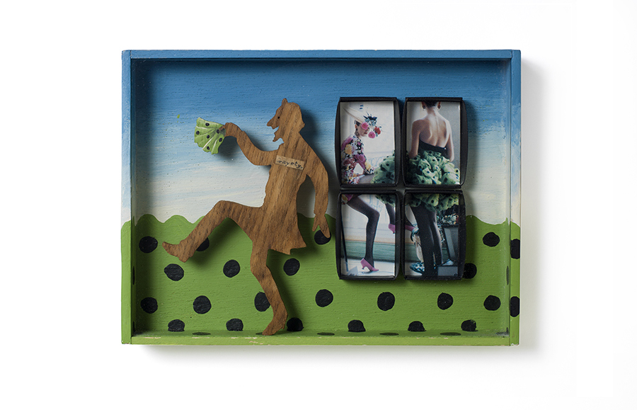 "WINDOW 3: GAYETY 9"" x 6.75"" x 1.75"" wooden figure and fashion photo"