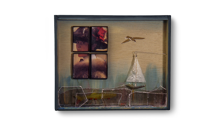 "WINDOW 5: MILDRED 9"" x 7.5"" x 1.75"" mica pieces, cardboard fish and mica sailboat"