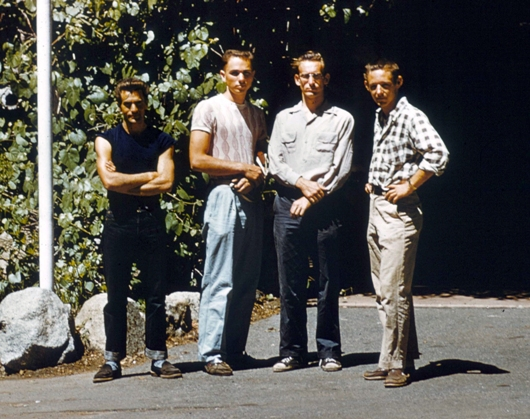 (Jerry Gallwas) Warren Harding, Jerry Gallwas (second from left), Royal Robbins, and Don Wilson after their first attempt to climb the Northwest face of Half Dome, 1955.