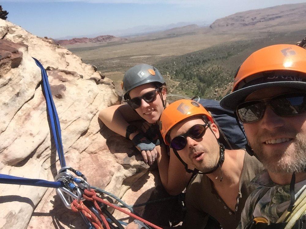 3 Person Rope Team 2 Red Rock Nevada Alpine Climber Rock Climbing SAANO Adventures Trad Climbing Multi Pitch.JPG