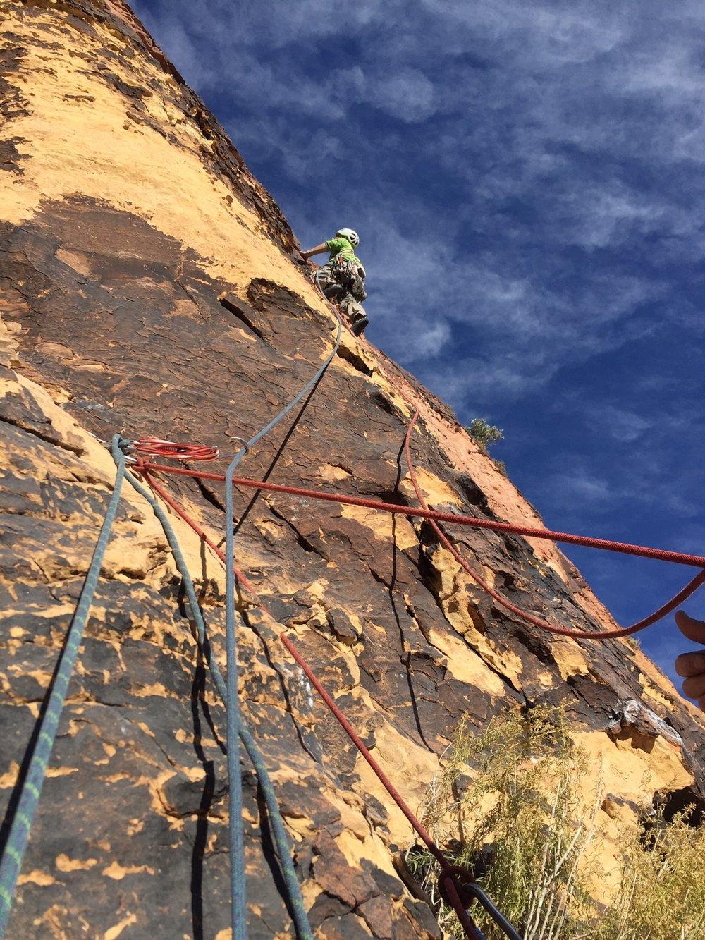 3 Person Rope Team 4 Red Rock Nevada 2 Alpine Climber Rock Climbing SAANO Adventures Trad Climbing Multi Pitch.JPG
