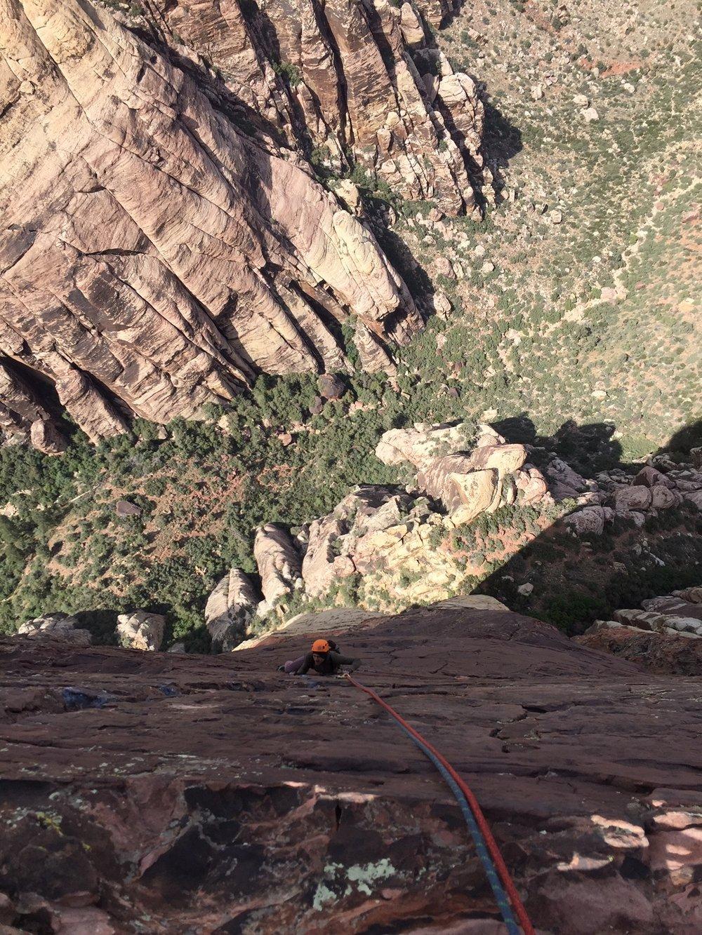 3 Person Rope Team Red Rock Nevada 2 Alpine Climber Rock Climbing SAANO Adventures Trad Climbing Multi Pitch.JPG