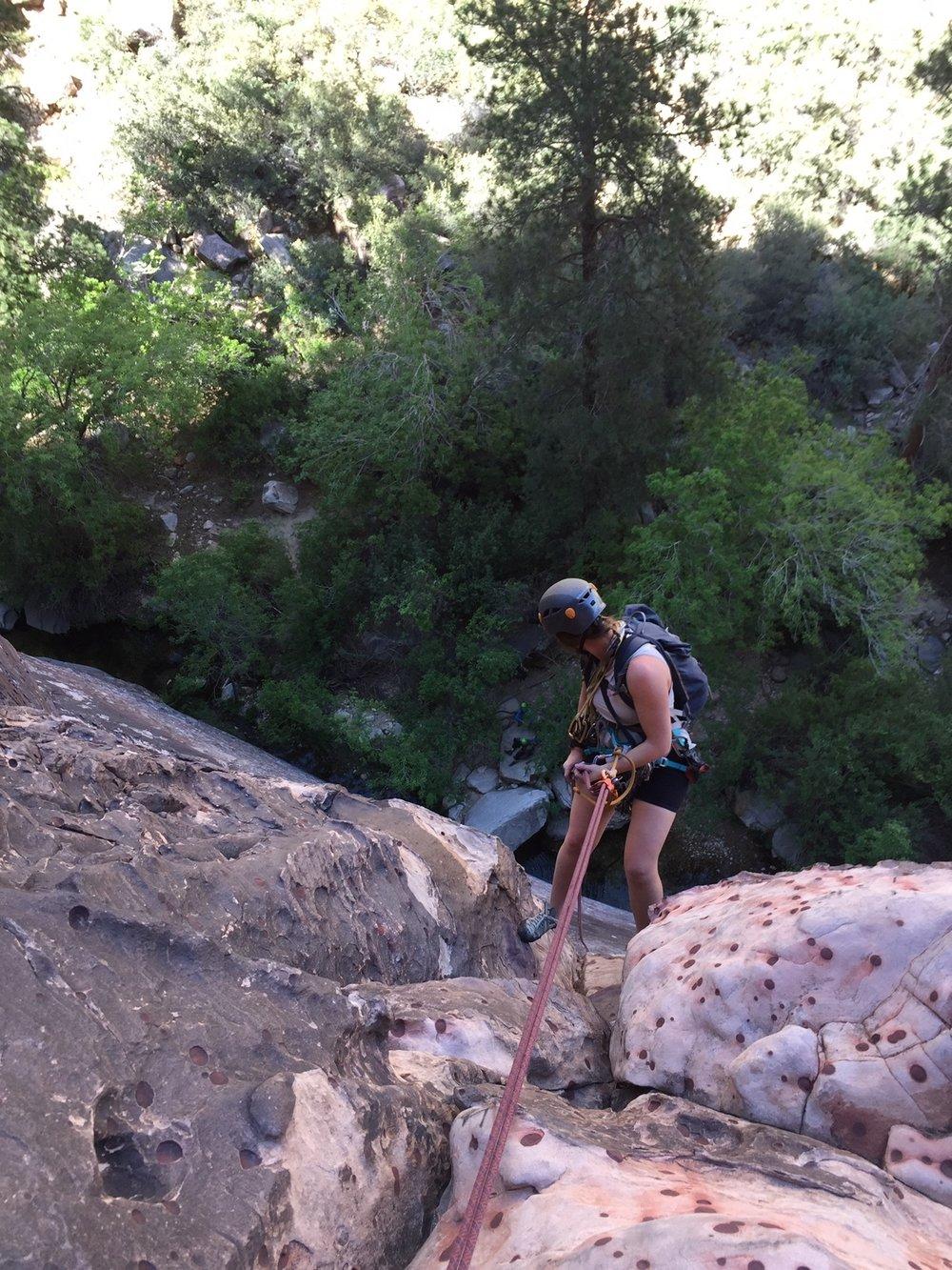 Rappelling Red Rock Nevada Alpine Climber Rock Climbing SAANO Adventures Trad Climbing Multi Pitch.JPG