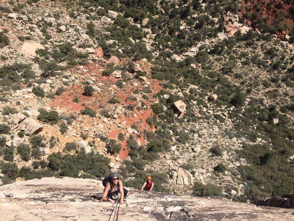 3 Person Rope Team Red Rock Nevada Alpine Climber Rock Climbing SAANO Adventures Trad Climbing Multi Pitch.jpg