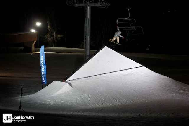 Forum snowboards rider Jory Prather riding the shark fin at granite peak parks.