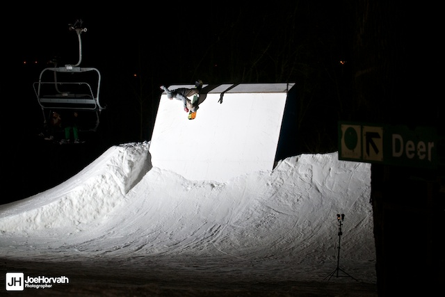 forum snowboards rider Jory prather at granite peak parks. wallride, lit with a speedlight
