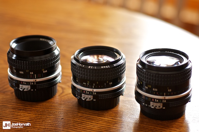 Nikon ai lenses. 50mm f/2, 28mm f/2.8, 24mm f/2.8 natural light