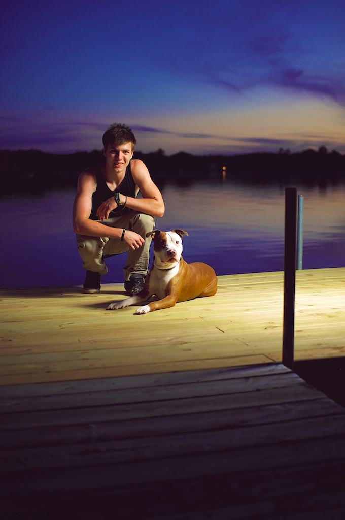Teamlab rider max boileau with his dog clide. Photographed by joe horvath visuals in Wautoma Wisconsin