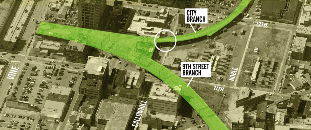 The damaged City Branch overpass at Callowhill circled above.