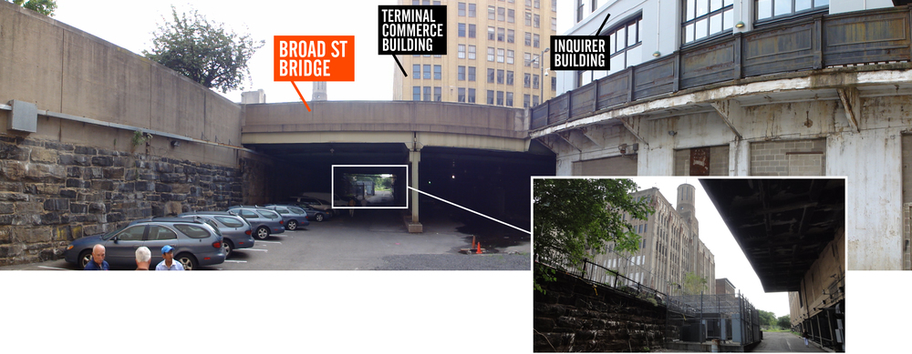 Looking east underneath the Broad Street Bridge over the City Branch, here being used as a surface parking lot. Inset shows the view of the stunning art deco Lasher Building, which reveals itself as you emerge from under the east side of the bridge.
