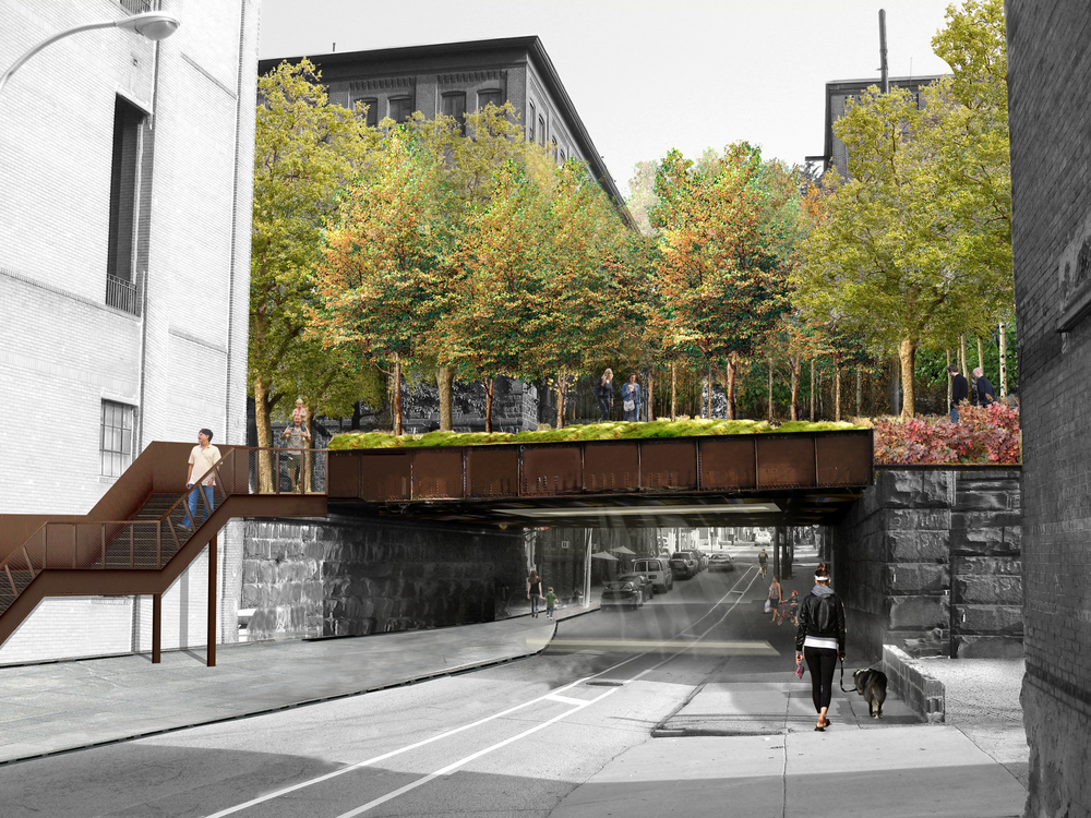 View of the access point to the park from 13th Street, looking north. 13th Street Kitchens' Cafe Lift is just beyond the overpass to the left. (Image by Studio Bryan Hanes/Courtesy of Center City District)