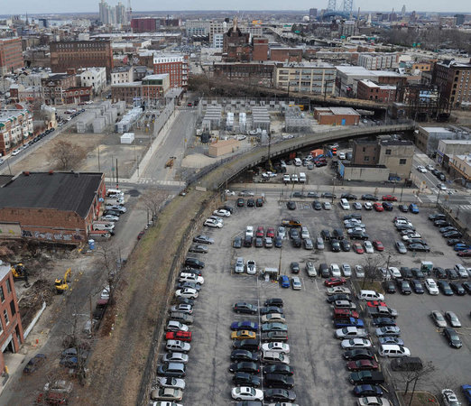 The SEPTA spur of the Reading Viaduct, which begins at Noble Street above 13th Street and curves south towards center city, will be the first phase of the Rail Park. Photo credit: Clem Murray, Inquirer Staff Photographer