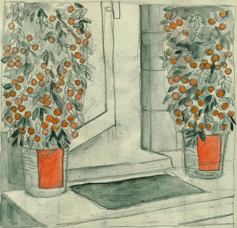 It was a few weeks after Chinese New Year, and many entrances had these beautiful tiny trees on either side of the doors.