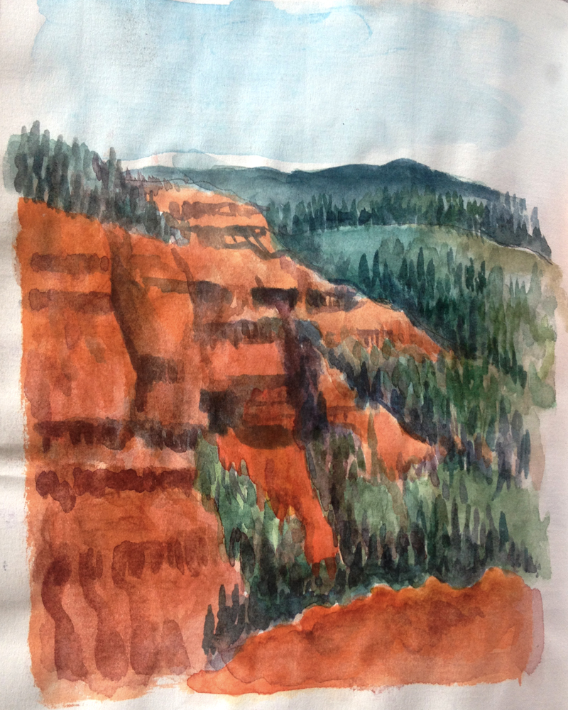 Blobbing around in my sketchbook on the Utah trip. Colors are not exaggerated; if anything, there are not enough colors and they are not bright enough.