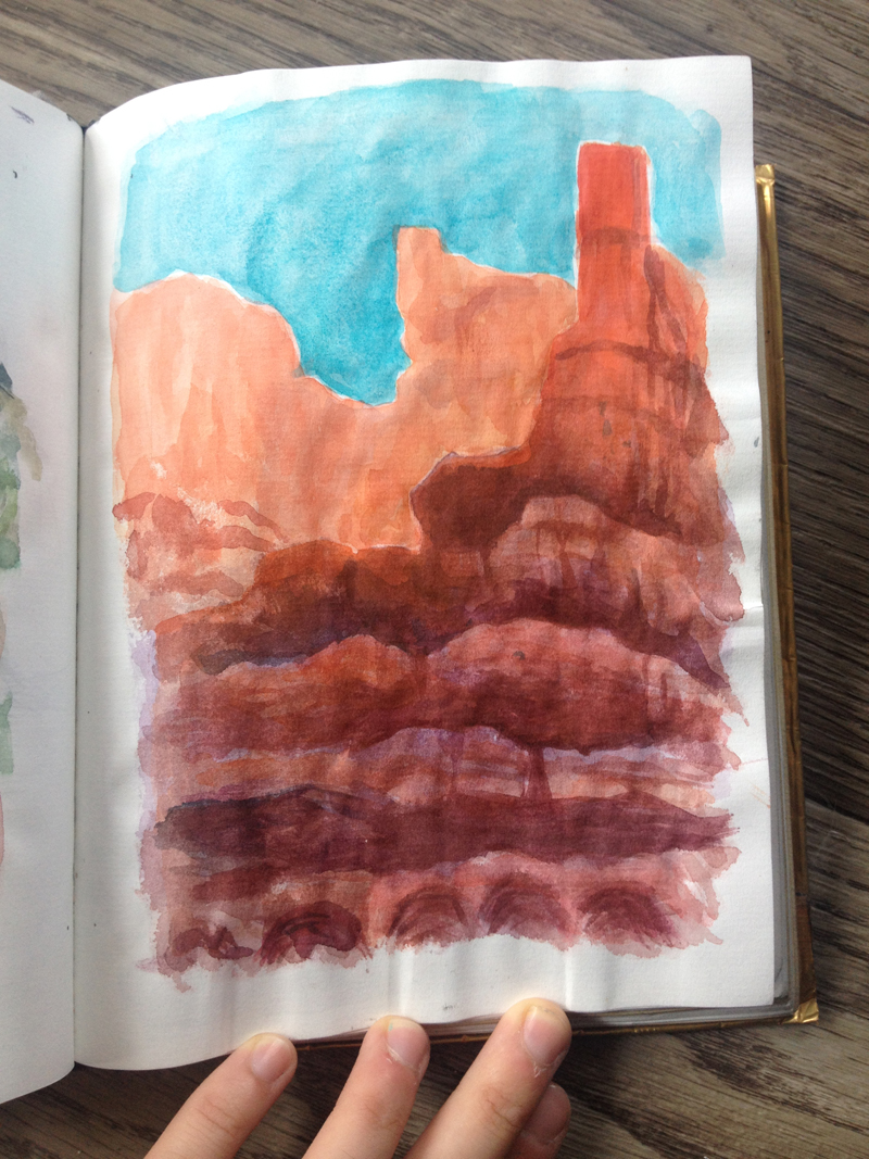 I loved this part of the trip. I remember sitting on a wood log bench with Lindsay, Jenny, and Justin, painting in Bryce Canyon. It was nice and peaceful; I could have done that all day.