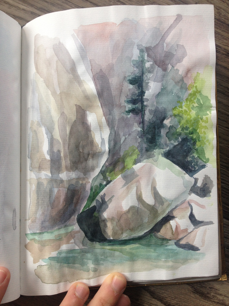 This was my favorite hiking: hiking IN A RIVER, upstream, in Zion National Park. We drew and painted on a riverbank for a little bit; this one isn't very finished, but weeks later, I still like the colors.