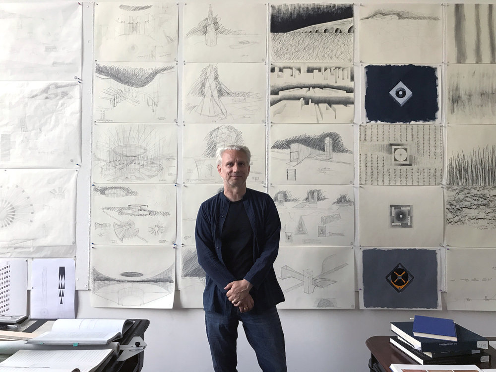 Robert Hutchison in his studio at the American Academy in Rome, Photograph by Jill Hardy.