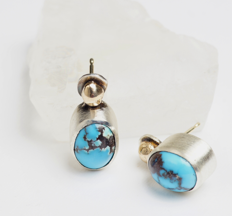 ​Earrings  Yellow gold, sterling silver, turquoise. ​