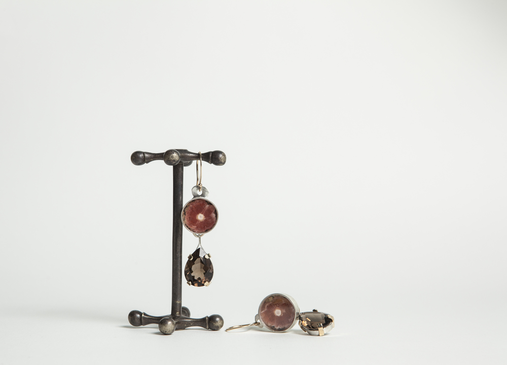 ​Earrings  Sterling silver, gold  rhodocrosite, smokey quartz, paper.