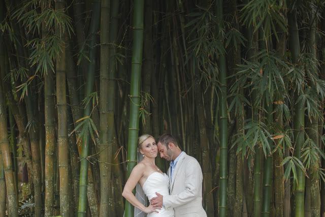 wedding couple between bamboos at Las Caletas, Puerto Vallarta