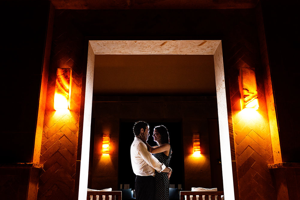 Couple with back light in the Observatory at Imanta Resort - Punta de Mita, Mexico