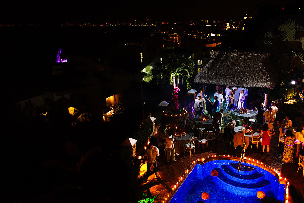 Overview of the destination wedding party at Casa Muni during the Puerto Vallarta night