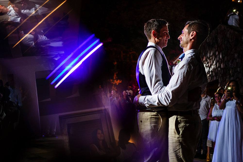 Groom and groom first dance as married couple