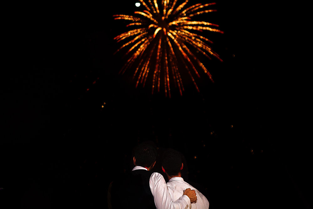 Fireworks at the end of the couple's first dance as part of their destination wedding in Mexico