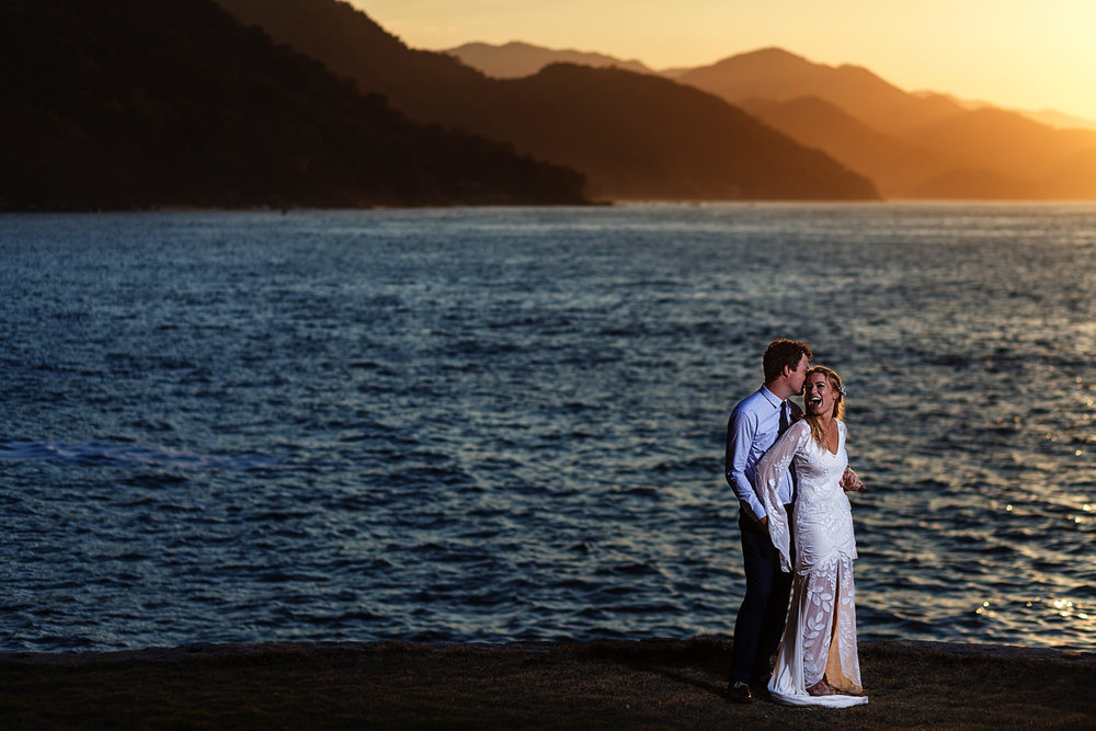 Married couple having a great time after their destination wedding ceremony in Puerto Vallarta, Mexico.