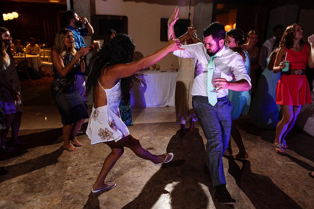 Wedding guests wild dance battle