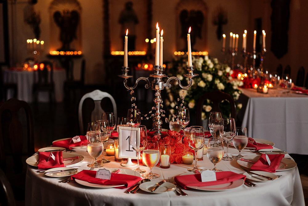 Full table decor for wedding ceremony at Hacienda San Angel in Puerto Vallarta