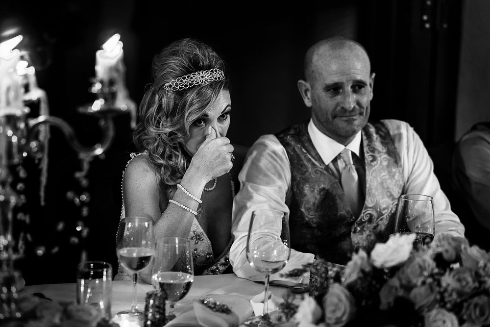 Bride cries as reaction to her son's speech