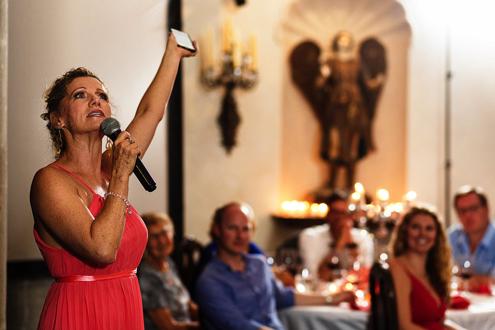 Maid of honor shouts to the sky in a wedding at Hacienda San Angel in Puerto Vallarta
