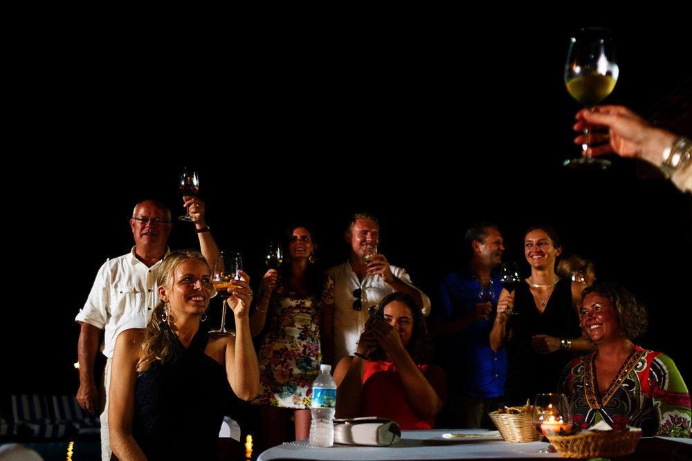 Everybody raise their wine glasses after a toast