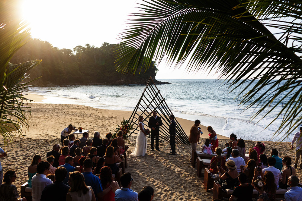 Wedding ceremony on the beach in progress
