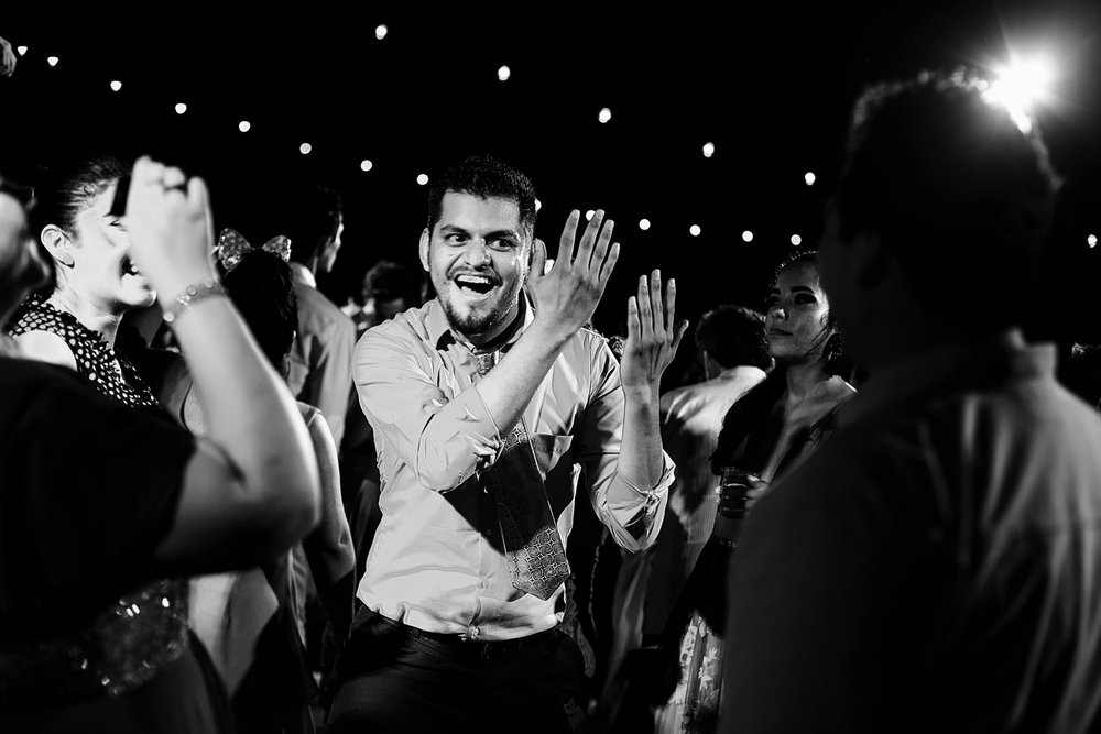 Wedding guest showing his best moves on the dance floor