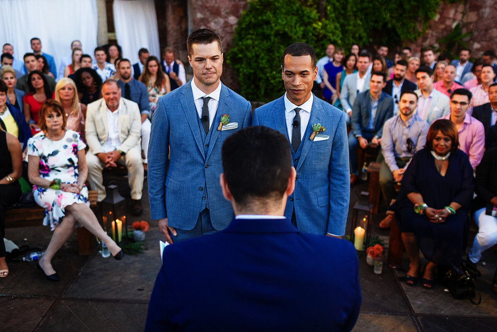 Grooms at ceremony in the beach area from La Mansion Vallarta villa