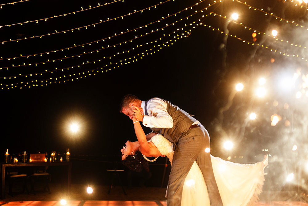 End of the bride and groom's first dance as floor sparklers light up