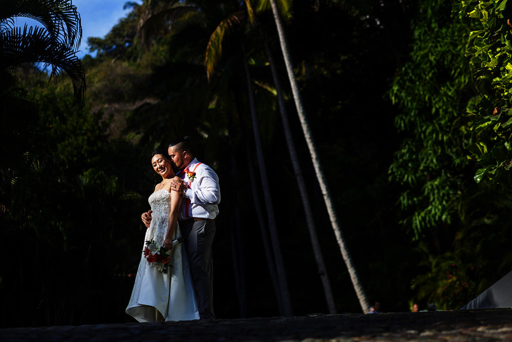 Groom and bride portrait using a spot of direct sunlight surrounded by greenery
