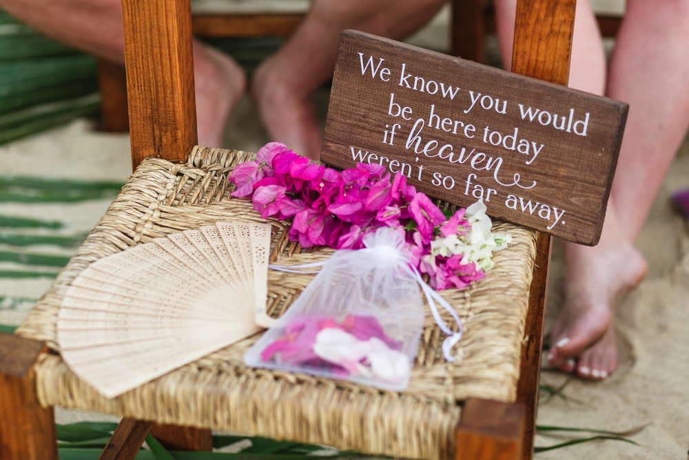 Special seat for those in heaven for the wedding ceremony.